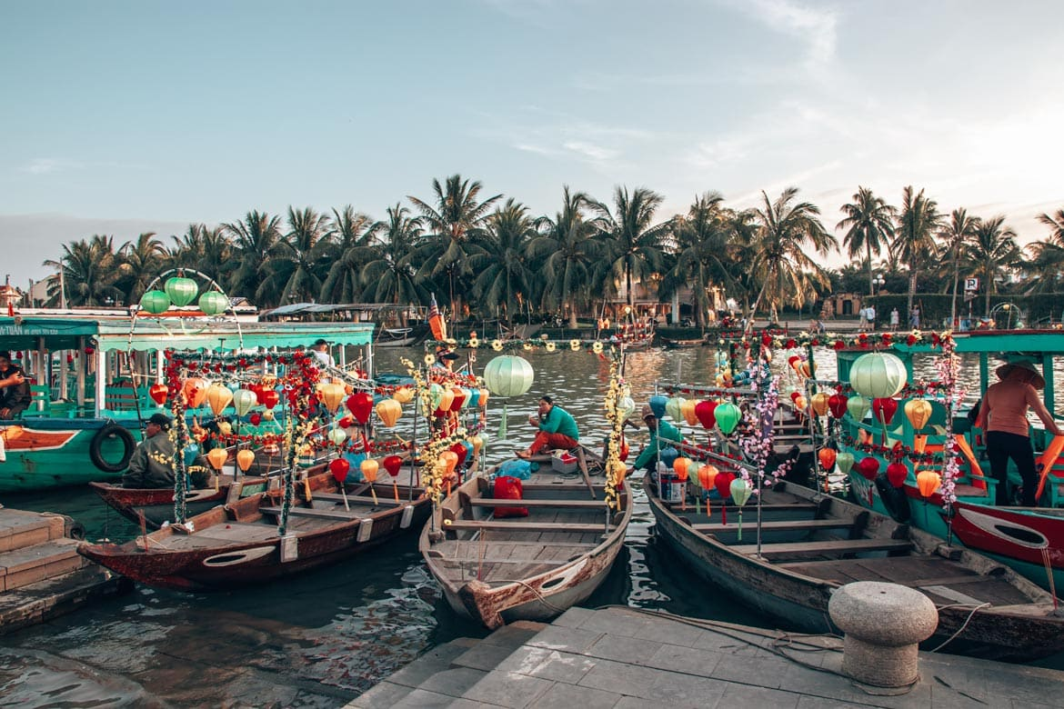 hoi an ancient town boats. traveling in vietnam