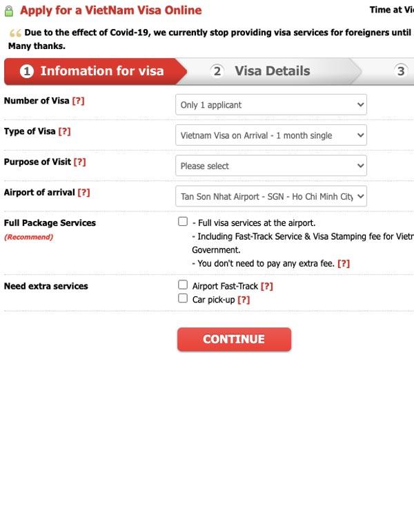 visa on arrival online application form