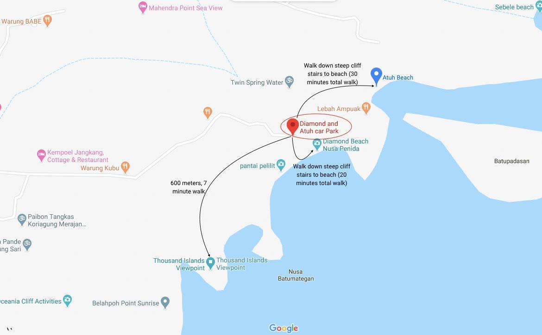 Atuh Beach Map
